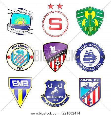 Football team logo. Set. The names of the teams are fictitious. Here can be name of your team.