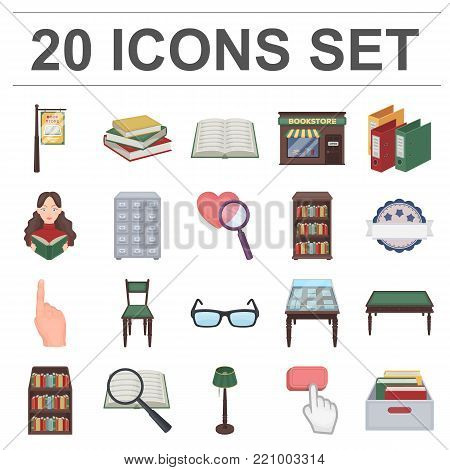 Library and bookstore cartoon icons in set collection for design. Books and furnishings vector symbol stock  illustration.