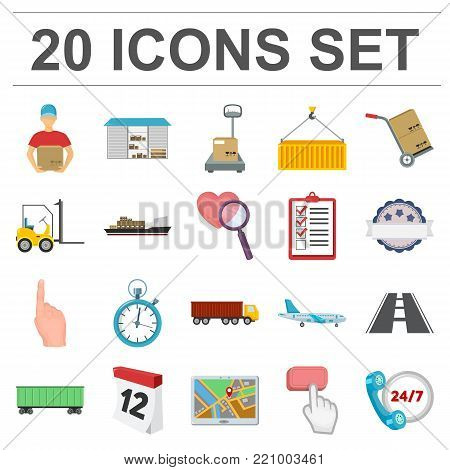 Logistics service cartoon icons in set collection for design. Logistics and equipment vector symbol stock  illustration.