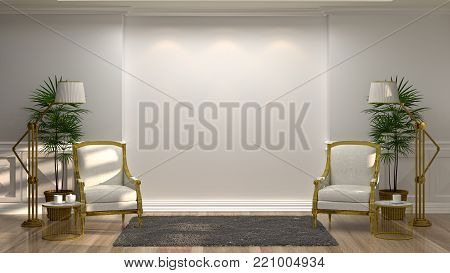 white armchairs and lamp in front of a white wall decorative items minimal style in empty room vintage style,3drendering luxury living room modern mid century room interior home design