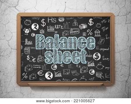 Money concept: Chalk Blue text Balance Sheet on School board background with  Hand Drawn Finance Icons, 3D Rendering