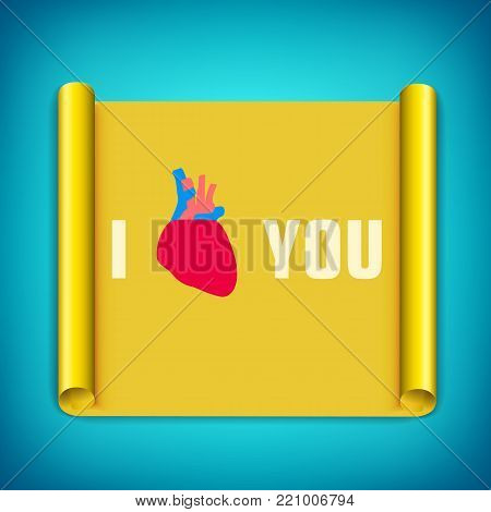 Light greeting template with love confession red human heart on yellow paper scroll isolated vector illustration