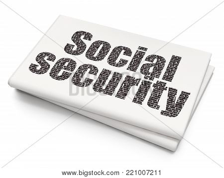 Safety concept: Pixelated black text Social Security on Blank Newspaper background, 3D rendering