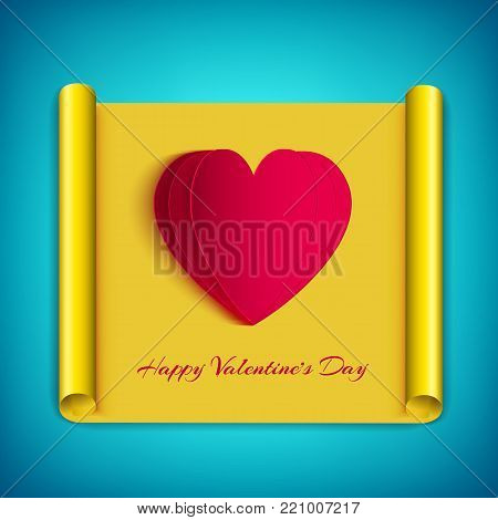 Amorous greeting background with inscription white cut hearts on yellow paper scroll isolated vector illustration