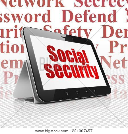 Security concept: Tablet Computer with  red text Social Security on display,  Tag Cloud background, 3D rendering
