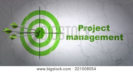 Success finance concept: arrows hitting the center of target, Green Project Management on wall background, 3D rendering