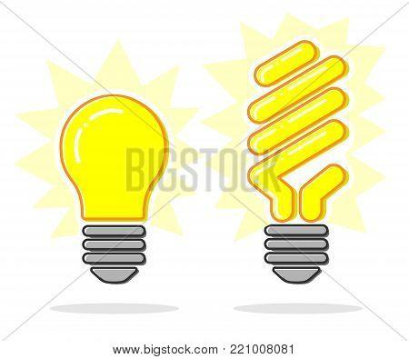 Flat line concept light bulb and energy saving light bulb icon. Vector.