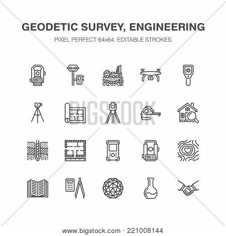 Geodetic survey engineering vector flat line icons. Geodesy equipment, tacheometer, theodolite, tripod. Geological research, building measurements. Construction service signs. Pixel perfect 64x64.