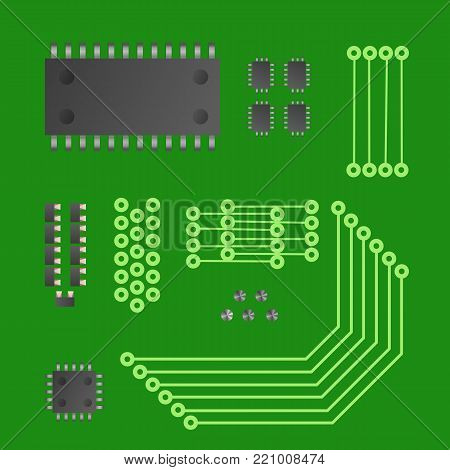 Information industry vector illustration. Computer component set.