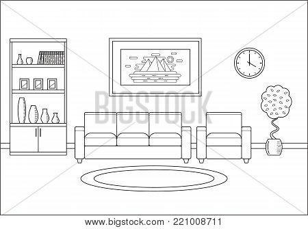 Room interior. Living room in line art flat design. Linear vector illustration. Outline house equipment. Home space with sofa, armchair and cupboard. Cartoon furniture.