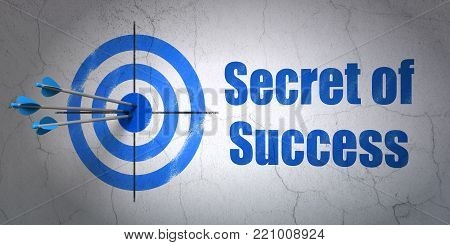 Success business concept: arrows hitting the center of target, Blue Secret of Success on wall background, 3D rendering