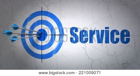 Success finance concept: arrows hitting the center of target, Blue Service on wall background, 3D rendering
