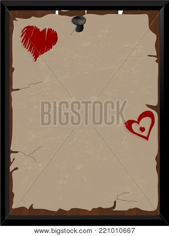 Brown scroll with two abstract red hearts