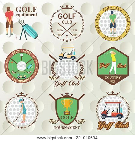Set of golf labels, badges and emblems