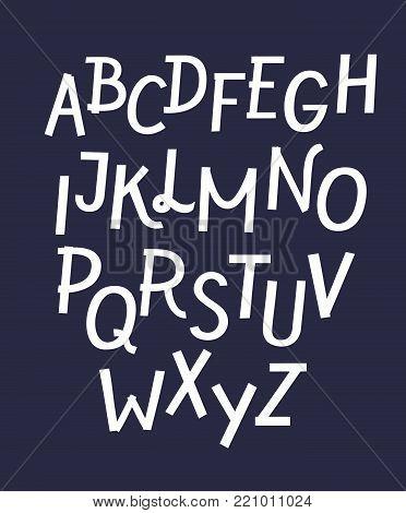 Vector cartoon white ribbon white font on dark background, latin bold typeset. Funny font.