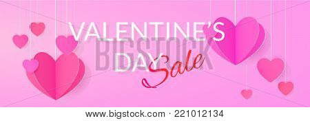 Valentine's day giveaway. Sale banner with paper heart garlands