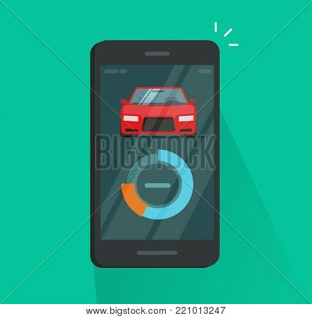 Smartphone dashboard with car diagnostic data vector illustration, flat cartoon style of mobile phone with smart automobile app, cellphone connected to auto control wireless technology