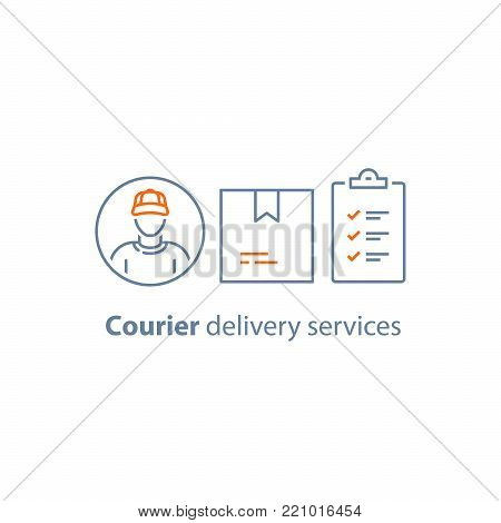 Delivery services, courier person, checklist and clipboard, parcel box, receive order concept, messenger man, vector line icon, thin stroke illustration