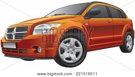 Detail vector image of American compact car, isolated on white background. File contains gradients and transparency. No blends and strokes. Easily edit: file is divided into logical layers and groups.
