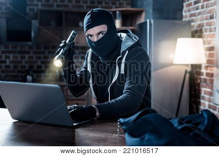 Hacker. Serious professional masked hacker sitting at the table and holding a torch and stealing date from the laptop at night
