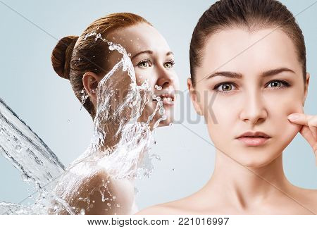 Collage of beautiful women in splashes of water. Cleansing and moisturizing concept.