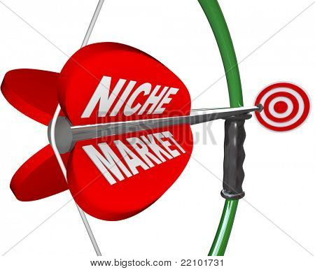 A bow and arrow with the words Niche Market and aiming at a red bulls-eye target, illustrating the pintpoint precision and focus needed to hone in on a specific market or audience