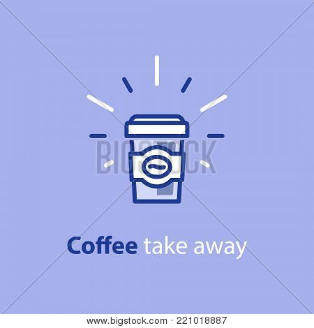 Coffee cup with sleeve, take away special offer, vector line icon