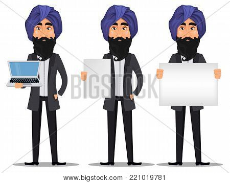 Indian business man cartoon character set. Young handsome businessman in business suit and turban holding laptop and holding blank placard - stock vector