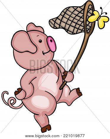 Scalable vectorial representing a cute pig chasing a yellow butterfly, children's illustration for your design isolated on white background.