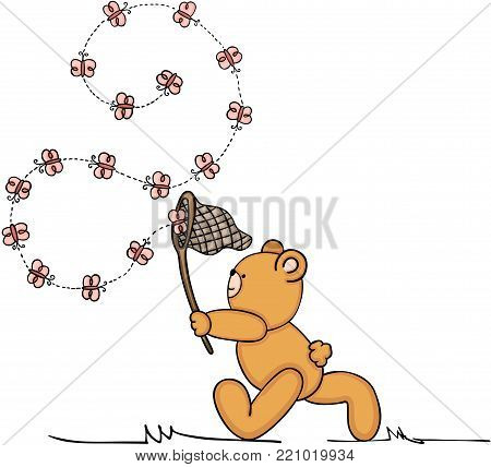 Scalable vectorial representing a teddy bear chasing butterflies, illustration isolated on white background.