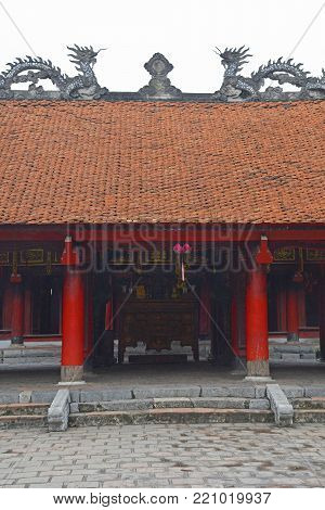 A gateway within the Temple of Literature in Hanoi, Vietnam