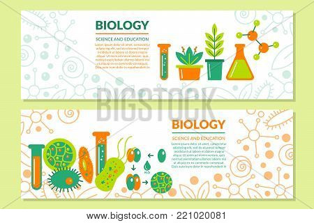 A set of scientific biological banners. Vector illustration