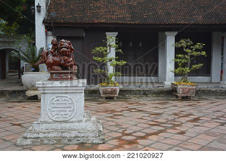 A Guardian Lion, also called a Foo Dog, in the Temple of Literature in Hanoi, Vietnam