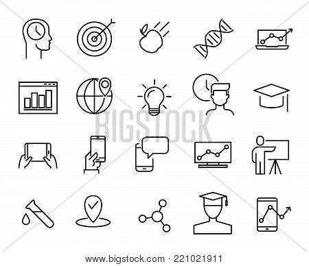Simple collection of e-learning related line icons. Thin line vector set of signs for infographic, logo, app development and website design. Premium symbols isolated on a white background.