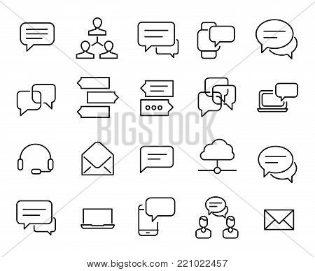 Simple collection of chat related line icons. Thin line vector set of signs for infographic, logo, app development and website design. Premium symbols isolated on a white background.