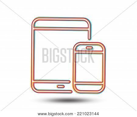 Mobile Devices icon. Smartphone and Tablet PC signs. Touchscreen gadget symbols. Colourful graphic design. Vector