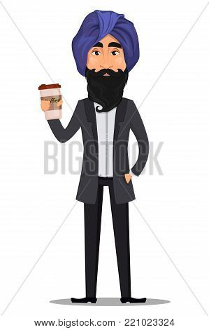Indian business man cartoon character. Young handsome businessman in business suit and turban holding cup of coffee - stock vector