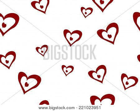 Abstract seamless background with red hearts - vector