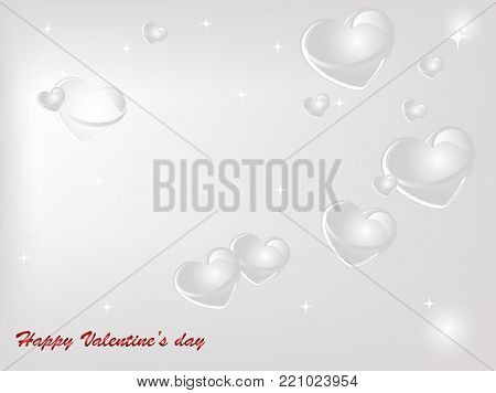 Abstract valentine background with grey and white hearts