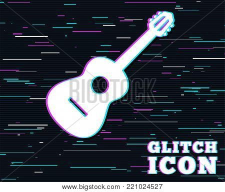 Glitch effect. Acoustic guitar sign icon. Music symbol. Background with colored lines. Vector