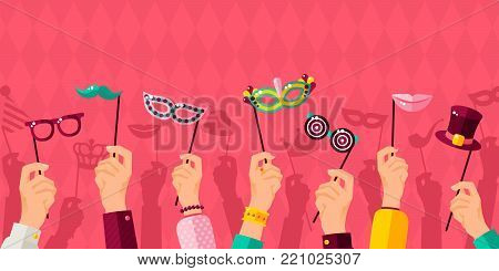 Carnival banner with hands holding carnaval masks. Vector illustration. Masquerade Concept, photo booth party poster