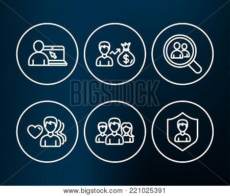 Set of Search employees, Teamwork and Man love icons. Online education, Sallary and Security agency signs. Staff analysis, Group of users, Romantic people. Vector