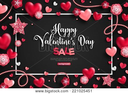 Happy saint valentine's day sale with frame, holiday objects on black. Vector illustration. Glittering hearts, stars, pearl beads and flowers. Flyer, card, menu, cover, banner, voucher design template.