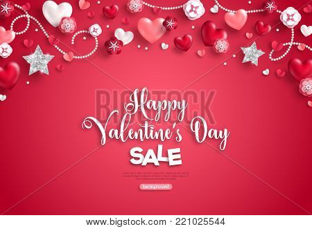 Happy saint valentine's day sale, horizontal border, holiday objects on red background. Vector illustration. Glittering heart, star and flowers. Flyer, card, menu, banner, voucher design template.