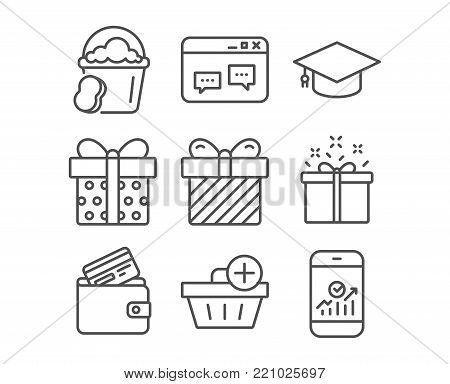 Set of Add purchase, Browser window and Special offer icons. Gift box, Surprise and Sponge signs. Debit card, Graduation cap and Smartphone statistics symbols. Shopping order. Website chat. Vector