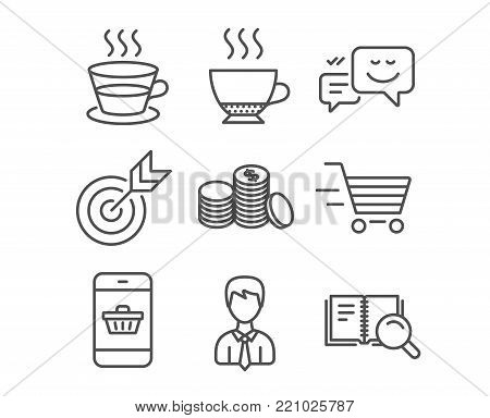 Set of Delivery shopping, Businessman and Coffee cup icons. Banking money, Target and Smartphone buying signs. Happy emotion, Espresso and Search book symbols. Online buying, User data, Tea mug