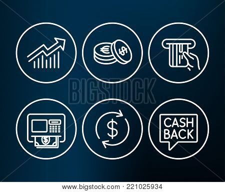Set of Usd exchange, Credit card and Savings icons. Demand curve, Atm and Money transfer signs. Currency rate, Atm payment, Cash coins. Statistical report, Money withdraw, Cashback message. Vector