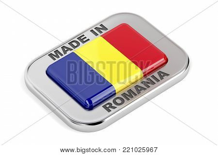 Made in Romania, shiny badge with Romanian flag. 3D illustration