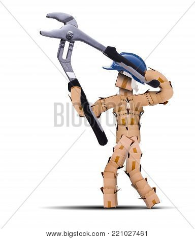 Box character digital character workman with hard hat sat resting against a toolbox. bearded worker and tools isolated concept artwork on a white background with copy space. Thinking outside the box