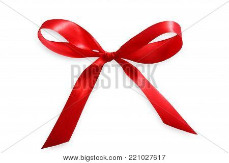 Red satin ribbon bow isolated on white background. Textile thin strip tied up to trim present or flower bunch. Any holiday decoration